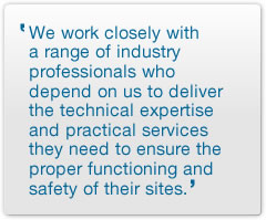 We work closely with a range of industry professionals who depend on us to deliver the technical expertise and practical services they need to ensure the proper functioning and safety of their sites.